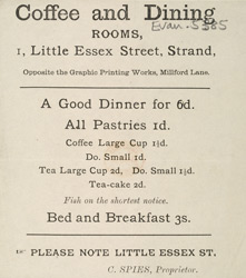 Advert for the Coffee and Dining Rooms on Little Essex Street in London